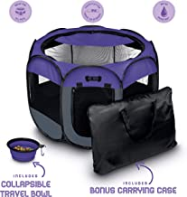 Ruff 'n Ruffus Portable Foldable Pet Playpen + Carrying Case & Collapsible Travel Bowl   Indoor / Outdoor use   Water resistant   Removable shade cover   Dogs / Cats / Rabbit   Available In 3 Sizes