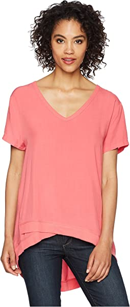 Pure Cotton Asymmetrical Short Sleeve V-Neck