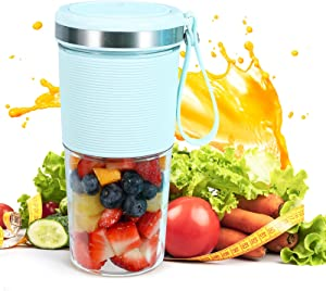 Portable Blender, LEQEE Cordless Portable Juicer Blender Cups for Shakes and Smoothies, 400ml Travel Blender with USB Rechargeable, On the Go Small Portable Blender Cup Made with Bpa-free Material
