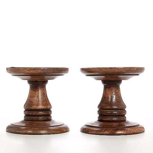 Wood Candle Holders Pillar Amazoncom