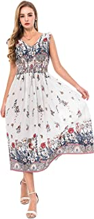 Wantdo Women's Bohemian Maxi Dress Floral Print V Neck Casual Long Dresses Plus Size