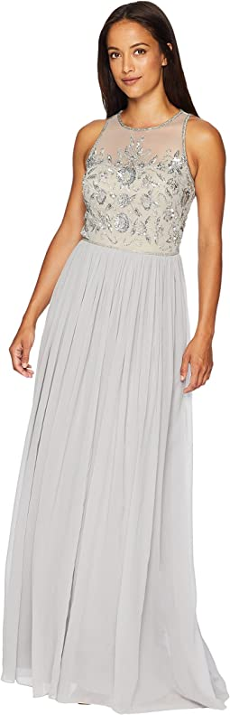 Sleeveless Illusion Bead Bodice with Crinkle Chiffon Skirt