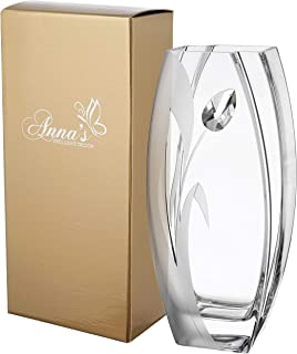 Luxury Large Handmade Glass Vase - Decorated with a Large Crystal from Swarovski & Sandblasted Tulip Flower – in a Golden Gift Box – Diamond Collection - Clear, 12.6 in (32 cm)