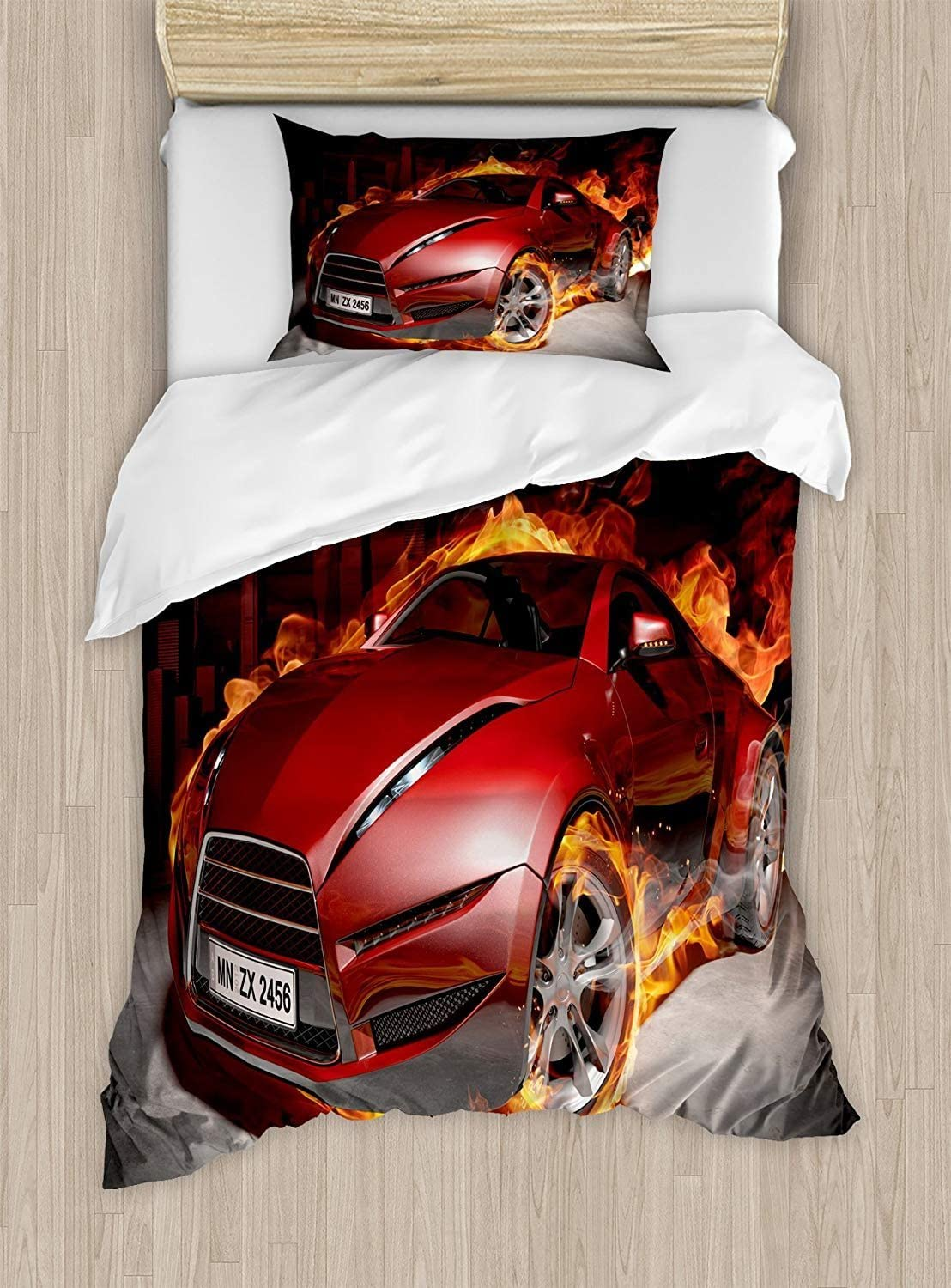 Cars Duvet Cover Sets King Red Car in Tires Sports Inexpensive Flam Free Shipping Cheap Bargain Gift Burnout