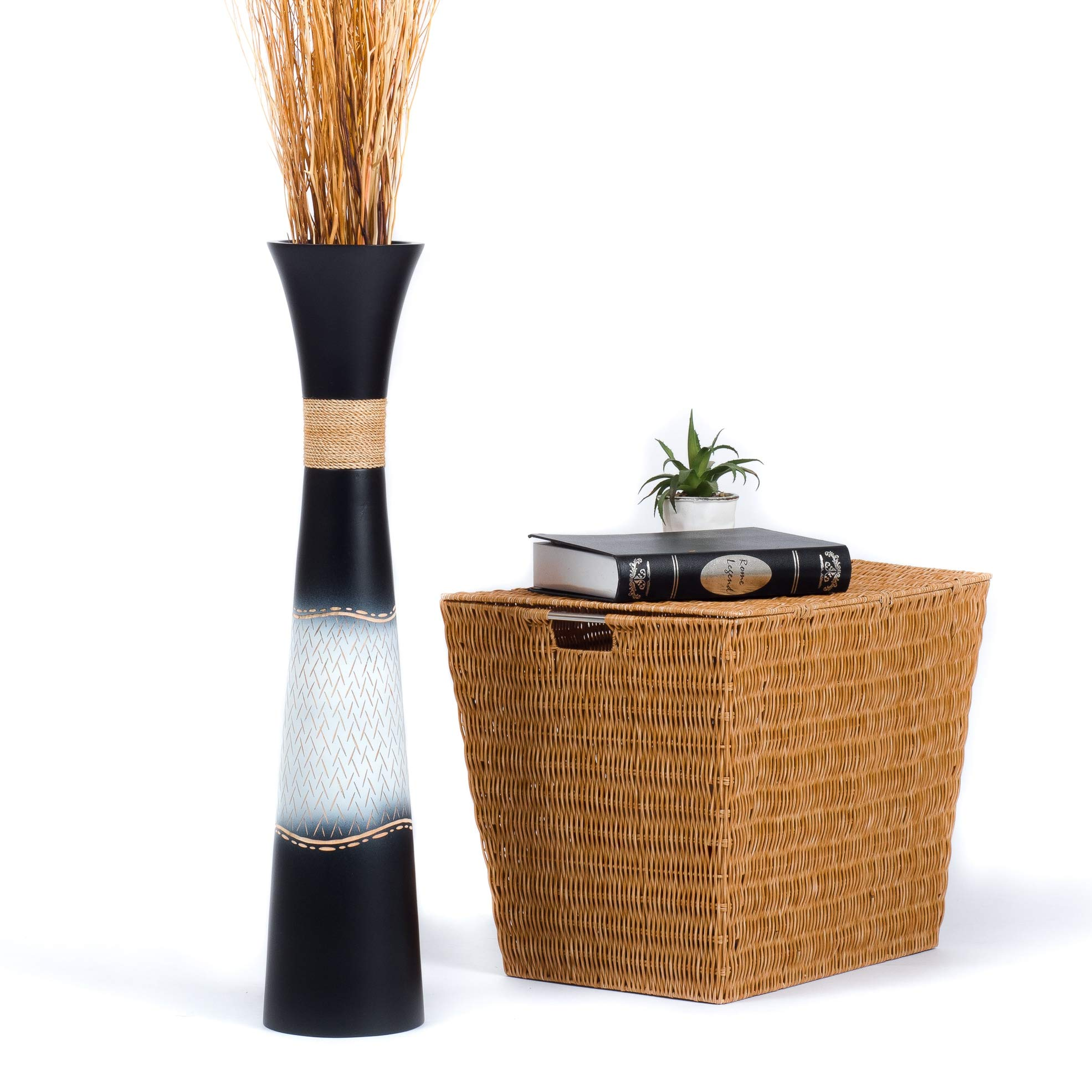 Leewadee Tall Big Floor Standing Vase for Home Decor 10 cm, Mango Wood,  Black White