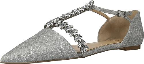 Badgley Mischka Jewel Wohommes Maury Mary Jane Flat, argent Glitter, 6 M US