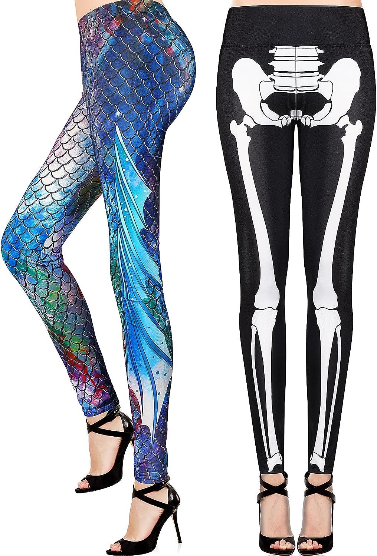 Women's Mermaid Leggings Skeleton HalloweenCostumeLeggin