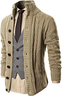 H2H Mens Casual Slim Fit Cardigan Sweater Cable Knitted Button Down Stand Collar