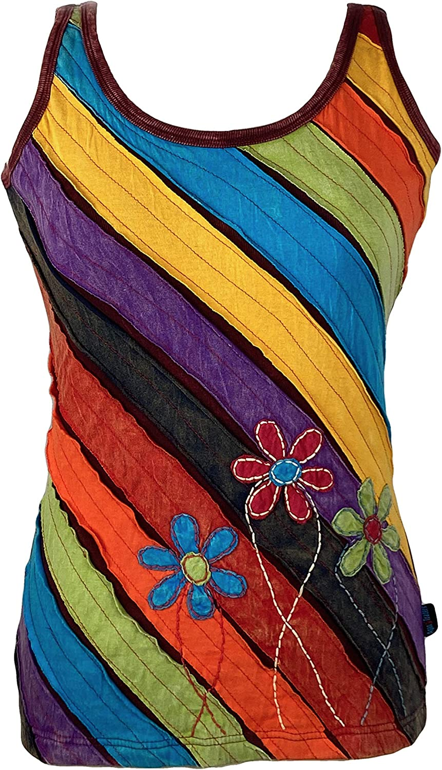 Agan Traders Women's Nepal Hand Crafted Flower Patched Diagonal Straps Tank Camis