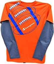 Champion Performance Little Boys Long Sleeve Graphic Print T Shirt Orange Grey Medium