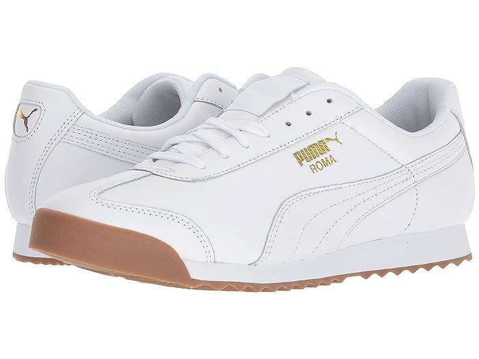 Vintage Sneakers for Men and Women PUMA Roma Classic Gum Puma WhitePuma Team Gold Mens Shoes $70.00 AT vintagedancer.com
