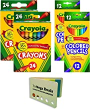 Crayola Crayons 24 Count, Pack of 2 Colored Pencils 12 Count, Pack of 2