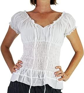 zootzu Short Sleeved Peasant Blouse' Renaissance Clothing, Gypsy, Boho Shirt, Chemise - White