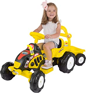 Lil' Rider Ride on Tractor & Trailer- Battery Powered Vehicle for Indoor Or Outdoor Play-Fun Riding Toy for Boys & Girls Ages 3-5 (Yellow)
