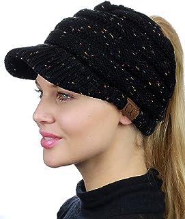 50868b464ab32 FREE Shipping by Amazon. C.C BeanieTail Warm Knit Messy High Bun Ponytail  Visor Beanie Cap