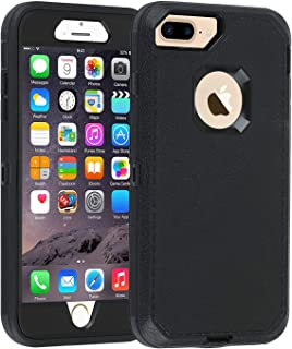 Co-Goldguard iPhone 7 Plus/8 Plus Case [Litchi Pattern Series] Heavy Duty Armor 3 in 1 Rugged Cover with Front Frame Dust-Proof Shockproof Drop-Proof Scratch-Resistant Shell for iPhone 7+/8+, Black