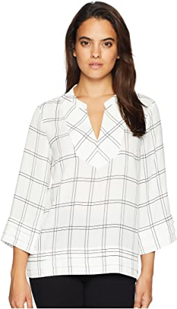 Long Sleeve Plaid Top with Open Hem