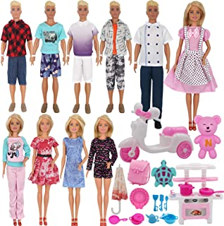 EuTengHao 34Pcs Doll Clothes and Accessories for 12 Inch Boy and Girl Dolls Chef Kitchen Playset Includes 18 Wear Clothes ...