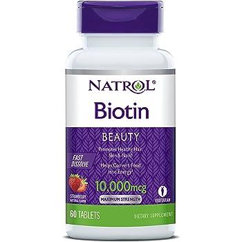 Natrol - ビオチンの自然ないちごの味 10000 mcg。60錠剤