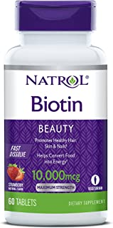 Natrol Biotin Beauty Tablets, Promotes Healthy Hair, Skin & Nails, Helps Support Energy Metabolism, Helps Convert Food Int...
