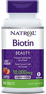 Natrol Biotin Beauty Tablets, Promotes Healthy Hair, Skin & Nails, Helps Support Energy Metabolism, Helps Convert Food Into Energy, 10,000mcg, 60Count