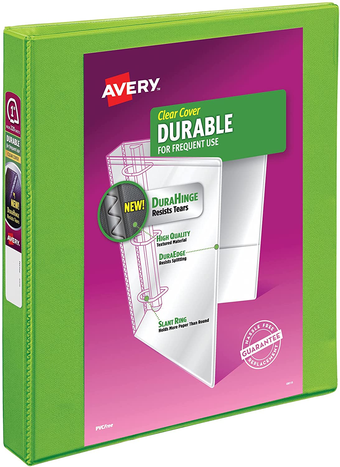 Avery Durable View 3 Ring Binder, 1 Inch Slant Rings, 1 Green Binder (17832) : Office Products
