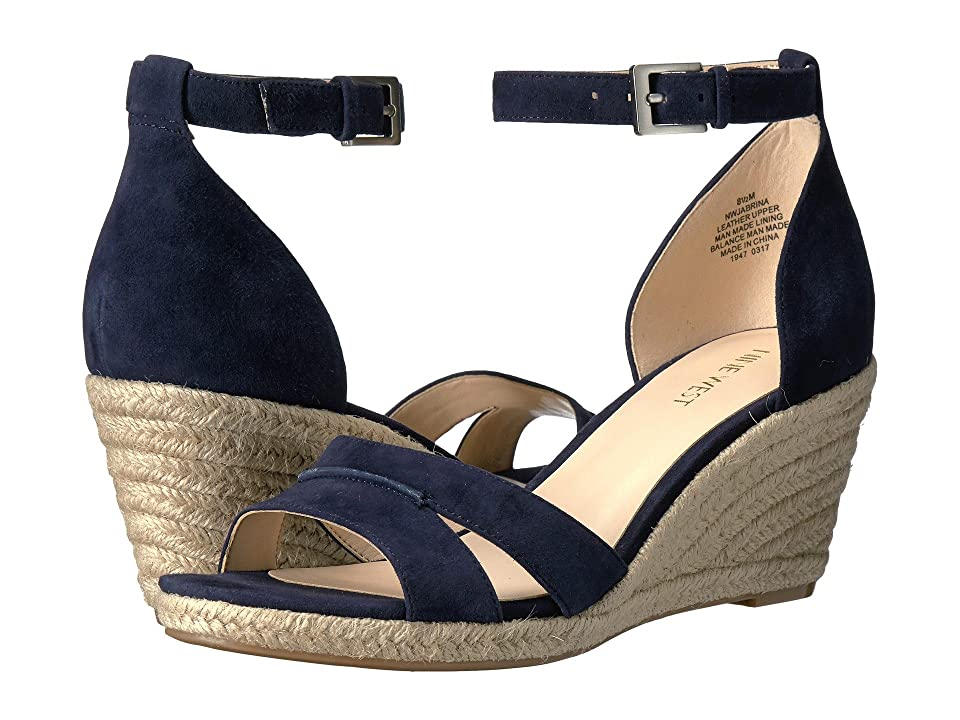 Nine West Jabrina Espadrille Wedge Sandal (Navy Suede) Women