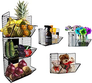 Panier de rangement mural pliable à 3 niveaux, panier métallique suspendu avec ardoises, cuisine, fruits, garde-manger, sa...