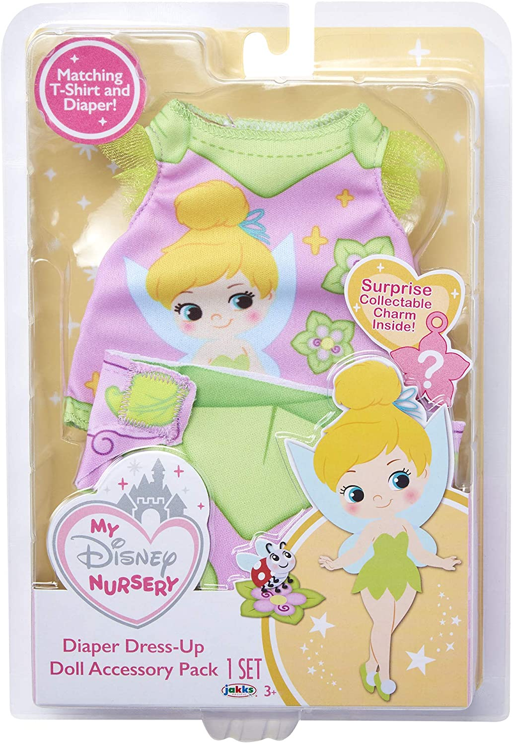 Doll Diaper Cover Clip with Charm My Disney Nursery Baby Doll Clothes /& Accessories Includes Doll T-Shirt Tinker Bell Diaper Accessory Pack Inspired by Disneys Tinker Bell Character