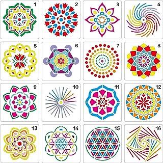 (Stencil-Mandala) - Mandala Stencil Diy Stones Reusable Set of 16 (13cm x 13cm ) Painting Stencil, Laser Cut Painting Temp...