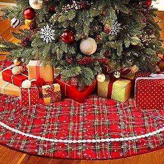 Aitsite Buffalo Plaid Christmas Tree Skirt 48 Inch Rustic Xmas Tree Skirt for Christmas Decorations Indoor Outdoor (Red)