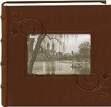 Pioneer álbum de fotos com moldura floral em relevo em couro sintético, marrom (10 x 15 cm)