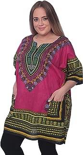 Traditional Unisex 100% Cotton Afrcan Dashiki Top Free Size S-XXL