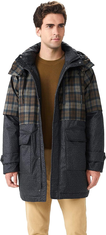 OrolayMen'sPlaid StitchingDownCoat Waterproof WinterJacket with Adjustable Hood