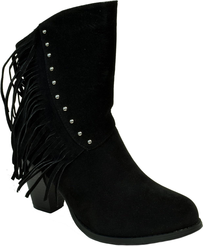 BETANI Fringe Studded Ankle Boots Chunky Stacked Heel Black Tan