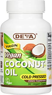 Deva Nutrition Vegan Virgin Coconut Oil Capsules, 90 Count