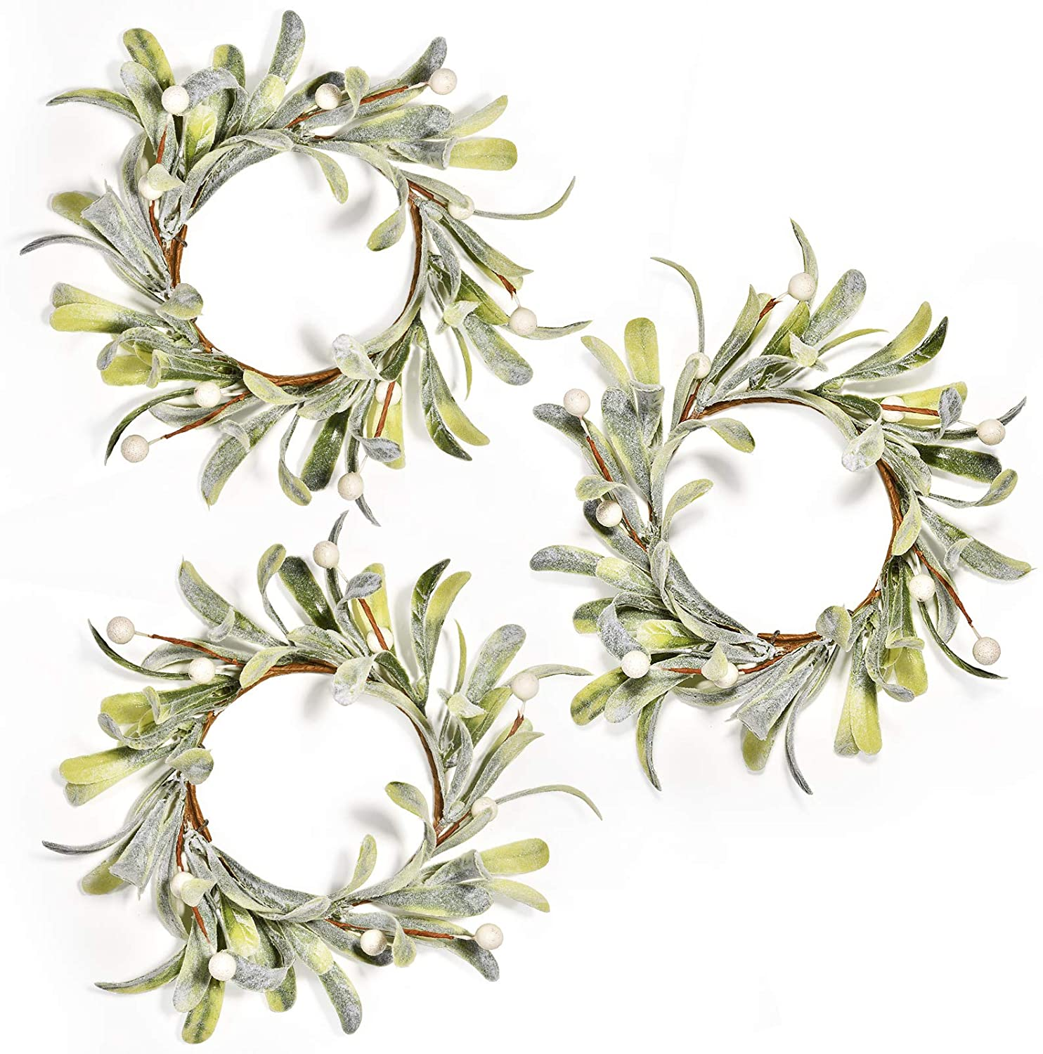 Feirui Pillar Candle Rings Set of 3, Frosted Mistletoe Wreaths with Pearl Accents,Christmas Holiday Parties and Home Decor