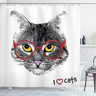 ABAKUHAUS Kitten Shower Curtain, Nerd Cat with Glasses, Cloth Fabric Bathroom Decor Set with Hooks, 175 cm x 180 cm, Black...