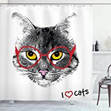 Ambesonne Cat Shower Curtain, Wise Nerd Cat with Glasses Judging The World Humor Digital Style Art Illustration, Cloth Fabric Bathroom Decor Set with Hooks, 75 Long, White Black