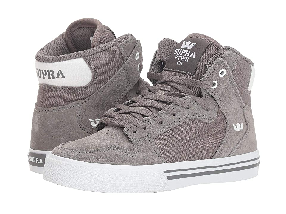 Supra Kids Vaider (Little Kid/Big Kid) (Charcoal/White/White) Boys Shoes, Black