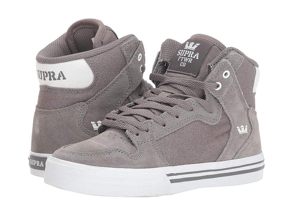 Supra Kids Vaider (Little Kid/Big Kid) (Charcoal/White/White) Boys Shoes
