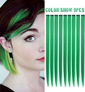 RHY 9PCS Princess Fun Highlights Rainbow Hair Extensions Clip in Colored Wig Accessories for American Girls/Dolls