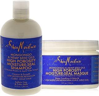 Shea Moisture Mongongo & Hemp Seed Oils Combo Pack, High Porosity Moisture-seal Masque, 12 Ounce | High Porosity Moisture-seal Shampoo, 13 Ounce