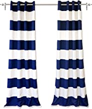 DriftAway Mia Woven Stripe 100% Blackout Thermal Insulated Window Curtain Grommet 2 Panels Each 50 Inch by 84 Inch Navy