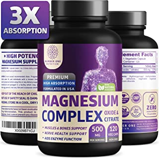 N1N Premium [3X Absorption, Vegan] Magnesium Complex, Powerful Supplement for Sleep, Leg Cramps, Muscle Recovery & Relaxation, Formulated for Women & Men - Pure, Non-GMO, 120 Veggie Capsules