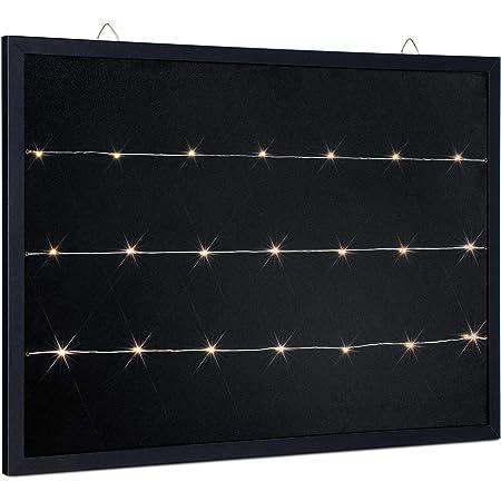 Navaris Tablero con Cuerdas y Luces - Pizarra de Tiza para Colgar Fotos Adornos - Tablón Iluminado con Marco y luz LED - Portafotos de 70 x 50 CM