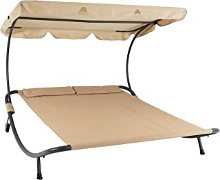 Sunnydaze Double Chaise Outdoor Lounge Bed with Canopy and Headrest Pillow, Portable Patio Sunbed Hammock Lounger, Beige