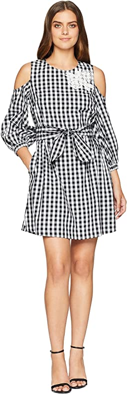 Gingham Check Cold Shoulder Dress
