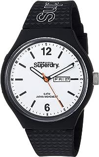 Superdry Men's QuartzUrban Men's Analog Quartz White Dial Watch with Black Silicone Strap Analog Display and Silicone Strap, SYG179WB