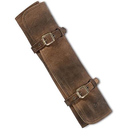 Angus Stoke Funda de piel para cuchillos de chef, rollo de cuchillo de chef grande de piel auténtica, bolsa de cuchillo de chef con cierre, color marrón oscuro envejecido